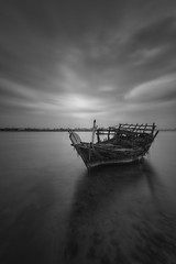 Dhow eclipse (heshaaam) Tags: longexposure blackandwhite bw boat bahrain dhow muharraq