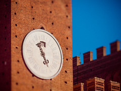 Palazzo Pubblico, Siena (miemo) Tags: city travel italy brick tower clock spring europe italia olympus medieval tuscany siena toscana redbrick ep1 piazzadelcampo palazzopubblico torredelmangia tiltshift