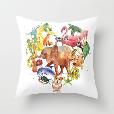 animal heart throw cushion