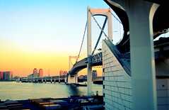 Rainbow Bridge i (Cubic-Rock) Tags: travel bridge sky japan train tokyo bay pier rainbow suspension odaiba tokyobay rainbowbridge shibaura