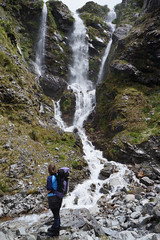 wonder at the waterfall (go wild - NZ outside) Tags: park new mountain classic water weather three waterfall track pass falls route zealand national wilderness doc tramping passes arthurs harman browning whitehorn 2013 threepasses