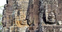 Statues Kissing at Bayon Temple in Siem Reap Cambodia (metaxom) Tags: temple cambodia siemreap wat bayontemple
