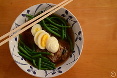 Cold Korean noodles (littlegirlracer) Tags: food cold green beans korean chopsticks eggs noodle