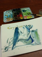 MYTH (IF) (artbybernadette) Tags: illustrationfriday if watercolors gryphon myth sketchkit inkandwatercolor