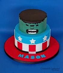 Superhero Cake (KiwiMiriam) Tags: blue red white black cake star ganache superhero hulk captainamerica fondant