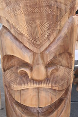 Tiki Statue (shaire productions) Tags: wood sculpture art face smiling happy photo wooden artwork mask image artistic arts creative picture culture pic totem tribal carving creation photograph hawaiian totempole tiki cultural imagery pacificisland polynesian pacificislander
