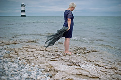 148.366 Get out of the boat (HelenHates Peas) Tags: selfportrait self selfie me lighthouse puffinisland wales penmon trwyndulighthouse scarf bluedress