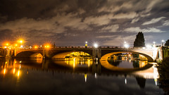 There must be bridges made out of love (OR_U) Tags: 2016 oru uk hamptoncourt bridge river riverthames reflections thames le lamps lights longexposure night nightlights nightphotography diannereeves water motion movement sky clouds