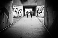 Celebration underpass (Capture the planet) Tags: bw blackwhite monochrome fx d810 fullfame nikon nikkor photography photographer lady woman architecture flickr camera underpass urban graffiti street fav10 fav25 fun girl underground under underneath fav50 teenager teenagers 35mmf14g