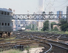 FD40PHs AMTK 307 and RTA 124 at Tower A-2 in 1982 -- 4 Photos (railfan 44) Tags: amtrak