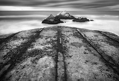old foundation and seal rocks (hbphototeach) Tags: approved cliff house seal rocks sealrocks sanfrancisco california bayarea seascape landscape blackandwhite longexposure clouds pacific ocean