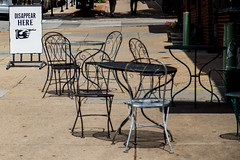 Disappearing Act (rg69olds) Tags: 07232016 canonef24105mmf4lisusm canondigitalcamera nebraska canon canoneos6d downtown oldmarket omaha people statue disappear disappearing act chairs tables sidwalk
