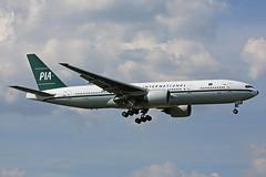 AP-BMG Boeing B777-2Q8ER PIA Pakistan International Airlines Retro Livery Heathrow 08th May 2016 (michael_hibbins) Tags: