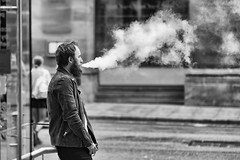 No smoking inside - he was fuming! (Mister Oy) Tags: davegreen oyphotos oyphotos brewdog bar manchester fujixpro2 urban smoking vapour ecig fuming vaping blackandwhite mono monochrome street streetphotography