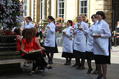 Betty's dancing waitresses (Nikki Goldblatt) Tags: dancing yorkshire waitresses history dance heritage city filming york bettystearooms