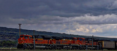 BNSF 8474, 6304, 8398 (robinlamb1) Tags: trains railways locomotives bnsf 8474 6304 8398 westbound bozeman montana coalcars loaded darksky clouds
