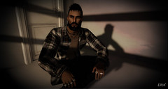 Contemplation 1 (erikmofanui) Tags: sexyman secondlifeavatar secondlifephotography secondlifeportrait shadows blinds lighting lumipro