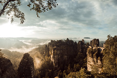 Bastei Bridge (Zerletti) Tags: deutschland germany mountains fog morning sun sunlight sonnenaufgang nebel berge sachsen schsischeschweiz summer early hiking view rocks felsen nikon d610 nikond610 wolken wandern
