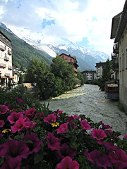 Chamonix L'Arve River (AmyEAnderson) Tags: larve river chamonix france europe rhonealpes alps flowerbox petunias chalet mountain mountains town scenic montblanc