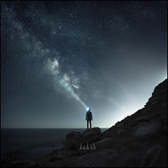 Stargazer (Midnight - digital) Tags: night milkyway man alone rocky beach star stars light dark