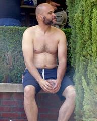 IMG_7877 (danimaniacs) Tags: party shirtless man guy sexy hot bear beard scruff hairy mansolo swimsuit trunks bald
