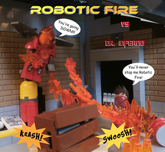 League of Heroes: Robotic Fire vs Dr. Inferno (jgg3210) Tags: lego leagueofheroes loh comic comicbook comics minifigure minifigures moc robotic fire dr inferno