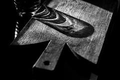 Against the grain... (Deborah Kelland) Tags: blackandwhite blackandwhitephotography black grain glass wood choppingboard sun sunlight low light lowlight