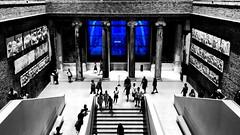 Inside the Neues Museum at Berlin (ANBerlin) Tags: drinnen indoor reflektion reflection reflexion lndm leute people pfeiler sulen pillars columns stufen treppen stairs historisch historical weltkulturerbe worldheritage deutschland germany mitte berlin bodestrase museumsinsel ausergewhnlich extraordinary abstrakt abstract gebude building museum neuesmuseum anb030 blau blue farbe color selektion selectiv colorsplash spritzer splash akzent accent schlsselfarbe keycolor singlecolor weis schwarz sw bw white black blackwhite shotoniphone iphotography iphonography 6splus iphone6s iphone apple