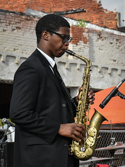 Urban Alto (tim.perdue) Tags: independents day festival 2016 columbus ohio franklinton music band concert live performance boy man person figure musician performer alto sax saxophone urban saxophonist musical instrument woodwind brave weather suit