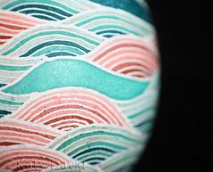 Starry Seas (Katy David Art) Tags: chicken egg eggshell pysanka pysanky blue aqua aquamarine salmon peach brick starry seas batik beeswax aniline dye stripes waves ocean white