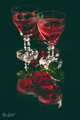 Gothic love (Lea Guti) Tags: rose red gothic black mirror dark vampire crystal glass poison drink alcohol coctail food