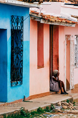 Colorful Loneliness (Simone Della Fornace) Tags: cuba trinidad street streetphotography sad lonely alone oneperson woman old pink blue outdoor village sony a7rii documentary reportage photojournalism colorful colors