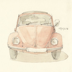 Das 9. Trchen // The 9th window (Flaf) Tags: colour water vw pencil volkswagen munich sketch advent calendar drawing beetle adventskalender florian muenchen bleistift kfer coccinelle zeichnung aquarell skizze afflerbach
