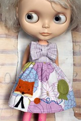 Let's Do Brunch (Button Arcade) Tags: blue wool floral vintage dress purple balloon felt sheets bow fox blythe pockets