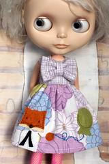 Let's Do Brunch (Button Arcade) Tags: blue wool floral vintage dress purple balloon felt sheets bow fox blythe pockets