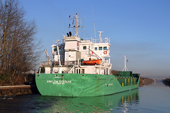Arklow Resolve leaving Latchford 11th December 2012 (John Eyres) Tags: manchester canal ship m6 arklow resolve thelwall latchford