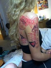 Drawing on my roommate (carolinecaldwell) Tags: fish tattoo triangle moth tattoos pentagram bodyart pentacle girlwithtattoos