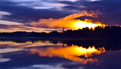 Sunrise in Purple (krissen) Tags: light chimney sun reflection nature water clouds sunrise smoke dramatic karlstad soluppgng ljus