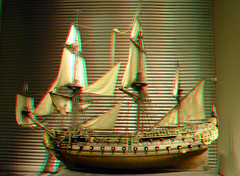 Model William Rex 3D (wim hoppenbrouwers) Tags: shipmodel williamrex rijksmuseum model ship 3d stereo anaglyph redcyan stereopicture dutchmanofwar 74gun 17thcentury warship amsterdam