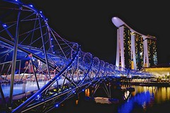 Helix Bridge, Singapore (Jamie Frith) Tags: bridge building water night marina reflections lights hotel bay nikon singapore helix sands d800 2470