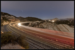 3 at Sullivan's in 15.4 minutes (K-Szok-Photography) Tags: california longexposure railroad night canon nightimages trains socal transportation unionpacific 5d nightshots canon5d canondslr bnsf cajon railroads inlandempire cajonpass sbcusa kenszok kszokphotography