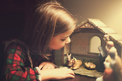 Away in a Manger II (Rebecca812) Tags: christmas family light portrait girl look childhood joseph kid child sweet candid mary innocent daughter figurines creche stable babyjesus nightgown nativityscene canon5dmarkii rebecca812
