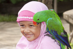 Islamic Girl Enjoying a Parrot (marlin harms) Tags: pettherapy muslimgirl islamicdress tamanburungbalibirdpark islamicgirl indonesianislamicgirl
