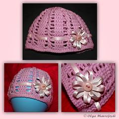 newborn beanie (Olga Mavrofrydi) Tags: pink flower girl circle head handmade crochet balloon craft cable greece ribbon satin beanie olgamavrofrydi