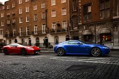 Red vs Blue (Will Dinn) Tags: california uk macro london canon lens eos photo dc italian martin sigma convertible s ferrari os knightsbridge will 7d british 1770 supercar v8 aston vantage dinn hsm f284
