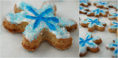 Sugar cookies: snowflakes (T.Monks) Tags: christmas blue white holiday dessert snowflakes diptych cookie sugar