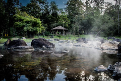 Hot Spring Pond (@Mahalarp) Tags: light sky reflection nature thailand nationalpark pond asia hotspring lampang jaeson