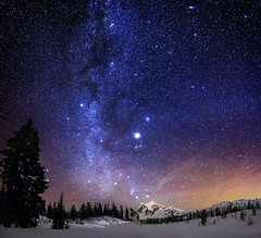Jupiter Rising (Alexis Birkill) Tags: trees panorama mountain snow night dark stars nationalforest astrophotography planets nightsky galaxies jupiter mountbaker milkyway mountshuksan Astrometrydotnet:status=failed Astrometrydotnet:id=alpha20130150726871