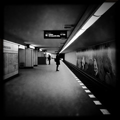 Bismarckstraße Metro (svavaroe) Tags: city blackandwhite bw man black berlin guy architecture germany underground square blackwhite waiting stranger trainstation ios bnw iphone 2013 deatschland bismarckstrase iphonegraphy hipstamatic iphone4s deatschlandgermany