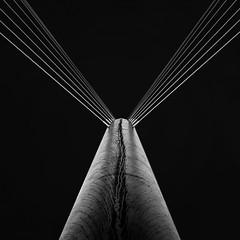 Trinity footbridge (Ddeek) Tags: bridge bw abstract wet rain square manchester mono suspension footbridge symmetry calatrava salford morerain